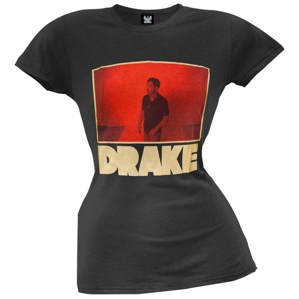 Drake - Red Photo Outlined Juniors T-Shirt