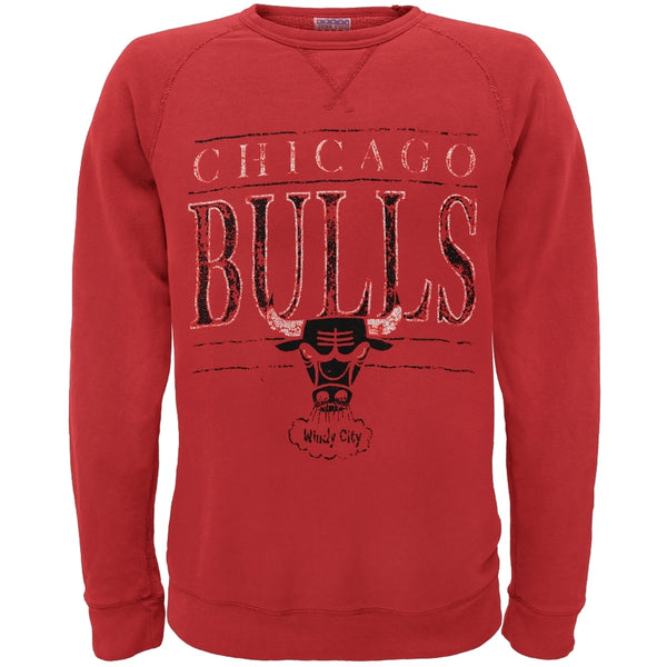Chicago Bulls - Distressed Windy City Logo Crew Neck Sweatshirt