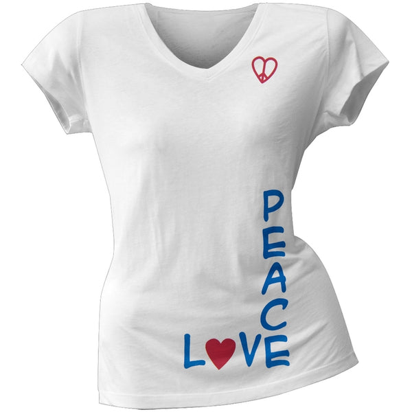 2 Love - Alyssa Milano's Peace Love Intersect Junior's V-Neck T-Shirt