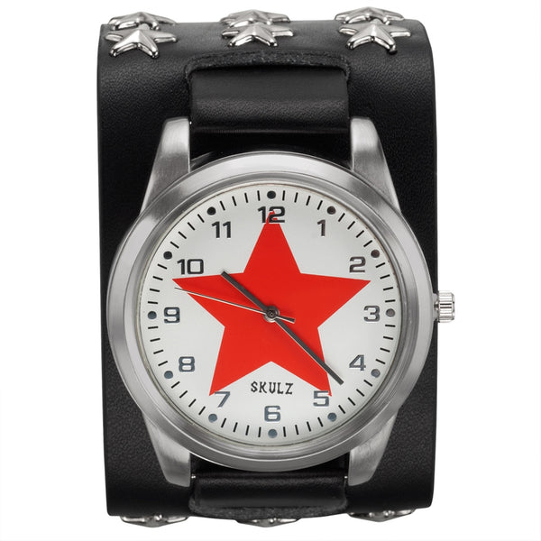 Red Star on White - Leather Strap Watch with Star Studs