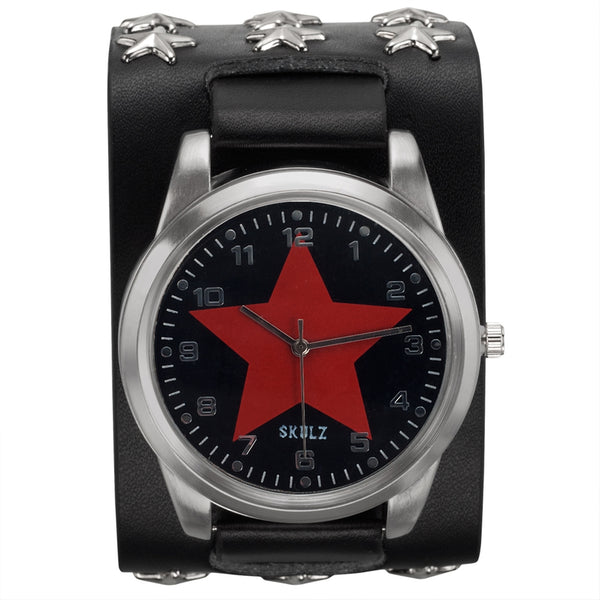Red Star on Black - Leather Strap Watch with Star Studs