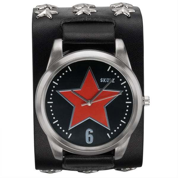 Red Star Outlined on Black - Leather Strap Watch with Star Studs
