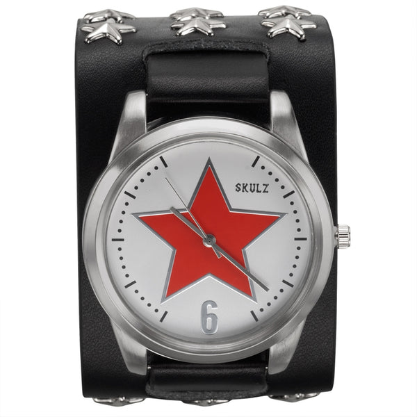 Red Star on White - Black Leather Strap Watch with Star Studs