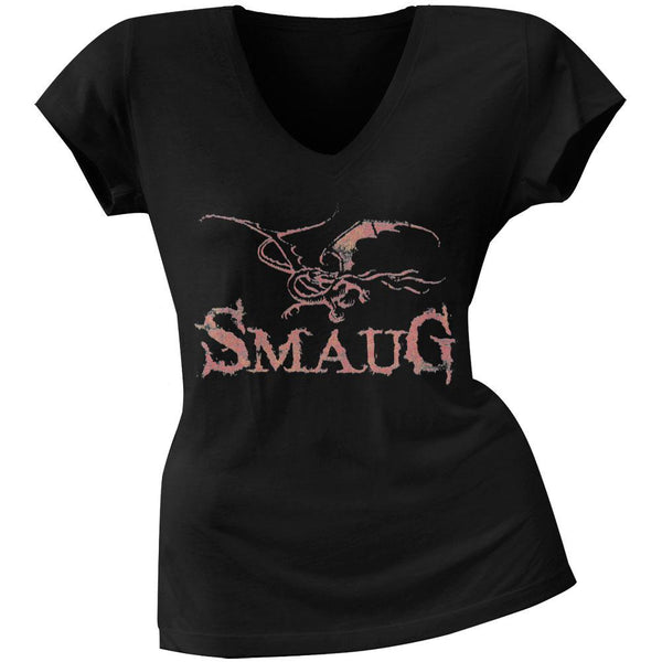 The Hobbit - Smaug Dragon Juniors V-Neck T-Shirt