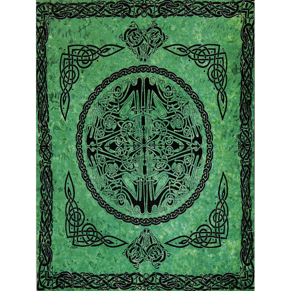 Web of Life Green Single Tapestry