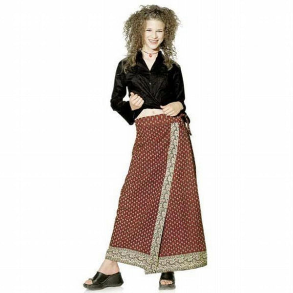 Maroon Print - Long Wrap Skirt