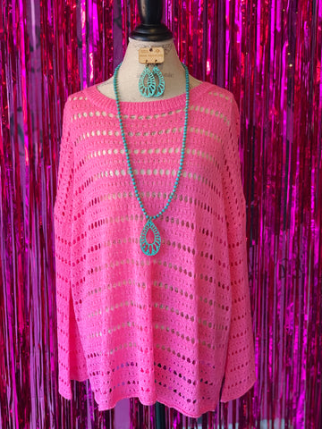 Hot Pink Bell Sleeve Mesh Lightweight Sweater
