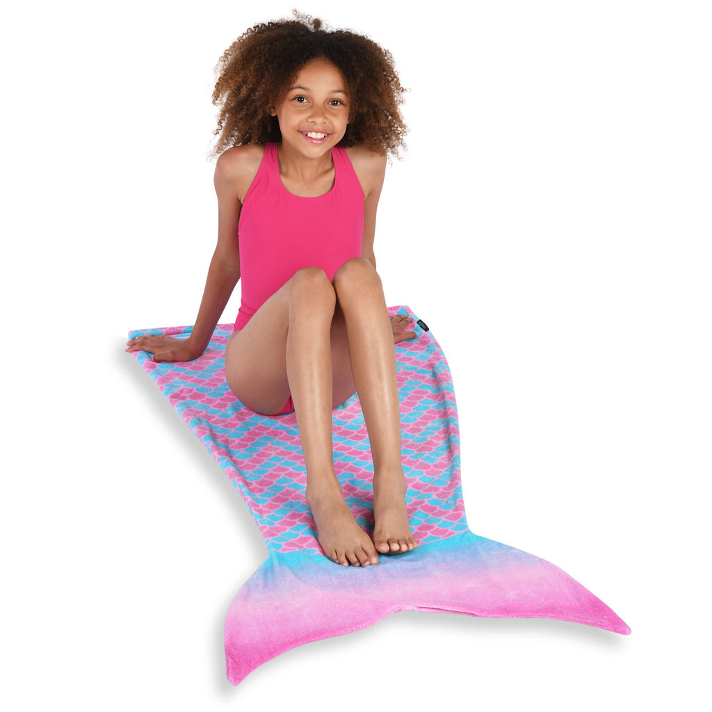 Pink and Blue Mermaid Towel Tail