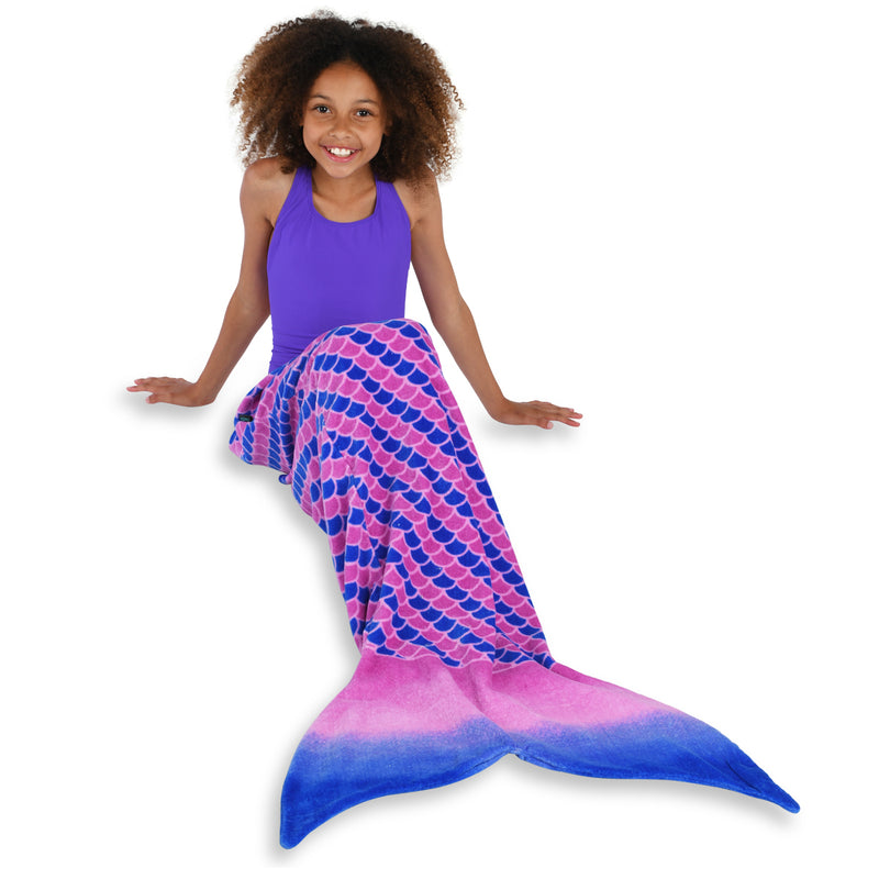 Pink and Purple Mermaid Towel Tail