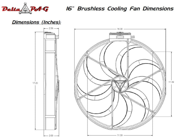 "16"" Brushless Fan Dimensions"
