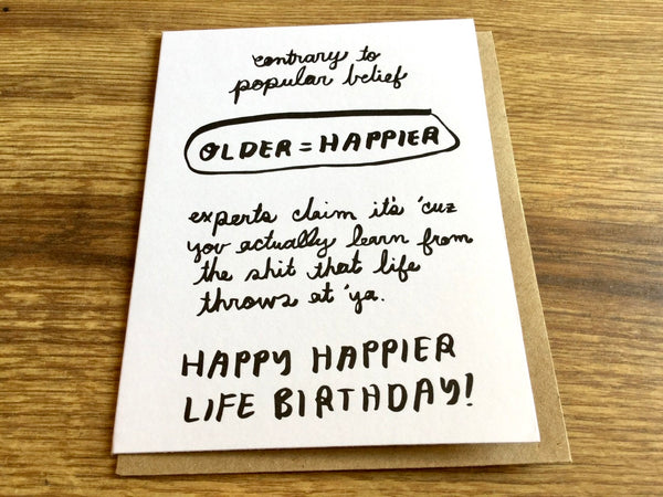 Grußkarte Happy Life Letterpress