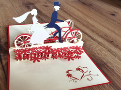 3D-Karte Pop-up Tandem-Hochzeit - Polly Paper