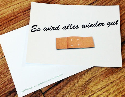 Postkarte Alles wieder gut Pflaster RC PP - Polly Paper