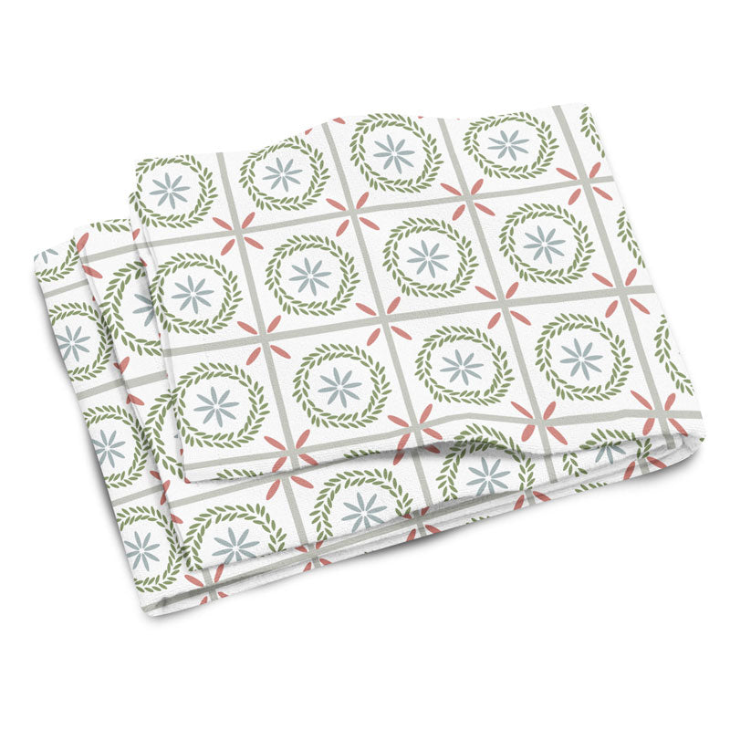 Farmhouse Floral Tile Hand & Bath Towel - Tint Press