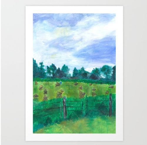 Haying on Hanover Hills Art Print - Tint Press