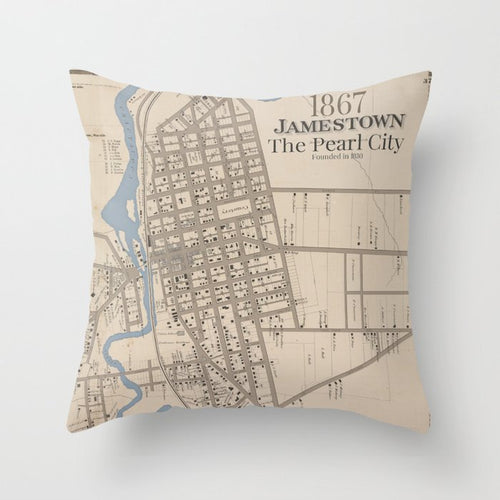 The Pearl City - Jamestown NY Pillow - Tint Press