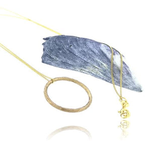 Driftwood Circle Pendant - Yellow Gold Plated