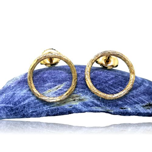 Driftwood Circle Stud Earrings - Yellow Gold Plated
