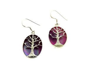 Tree Of Life Oval Earrings - Mother Of Pearl Purple.