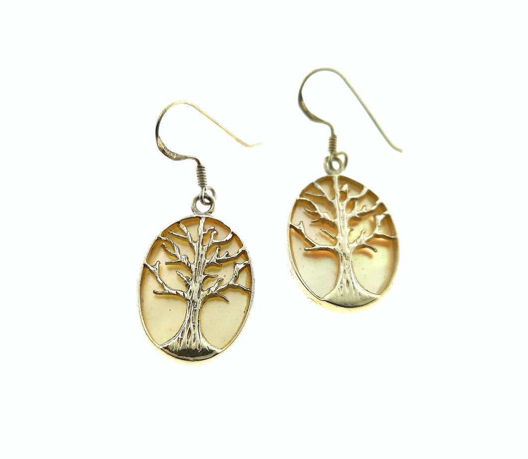 Tree Of Life Oval Earrings - Mother Of Pearl Yellow