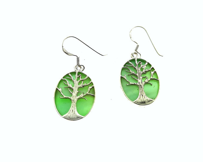Tree Of Life Oval Earrings - Mother Of Pearl Green