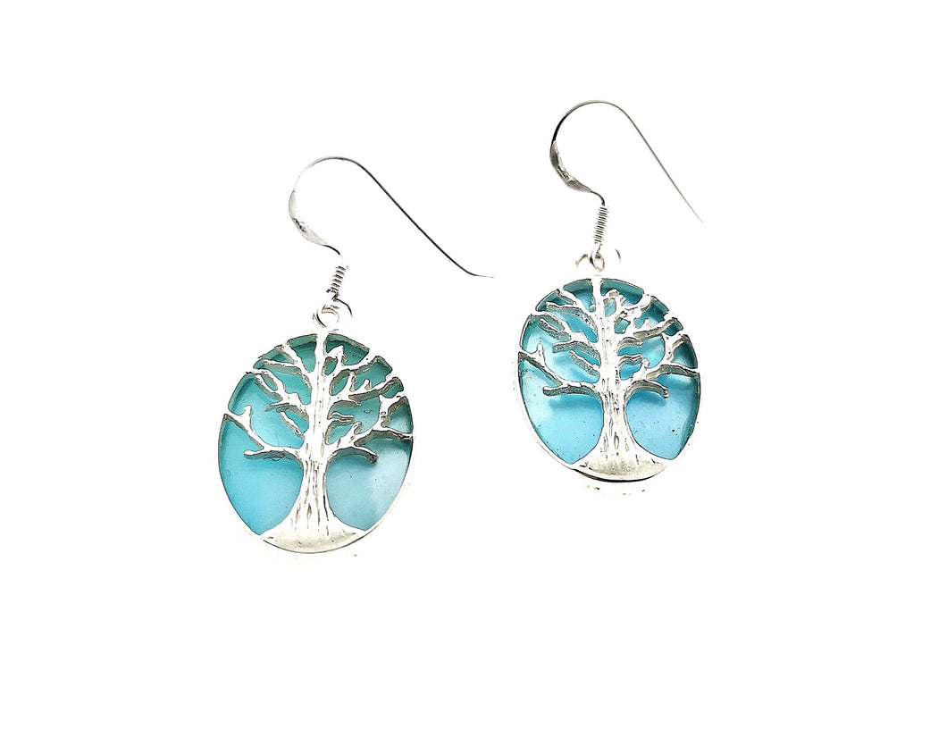 Tree Of Life Oval Earrings - Mother Of Pearl Blue