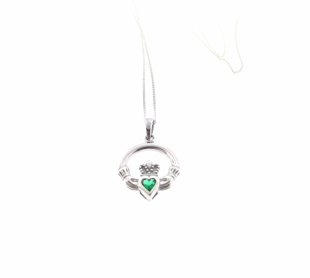 Claddagh Pendant - Sterling Silver Emerald Green Crystal