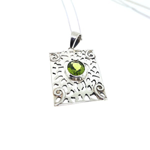 Celtic Shield Pendant - Sterling Silver With Peridot