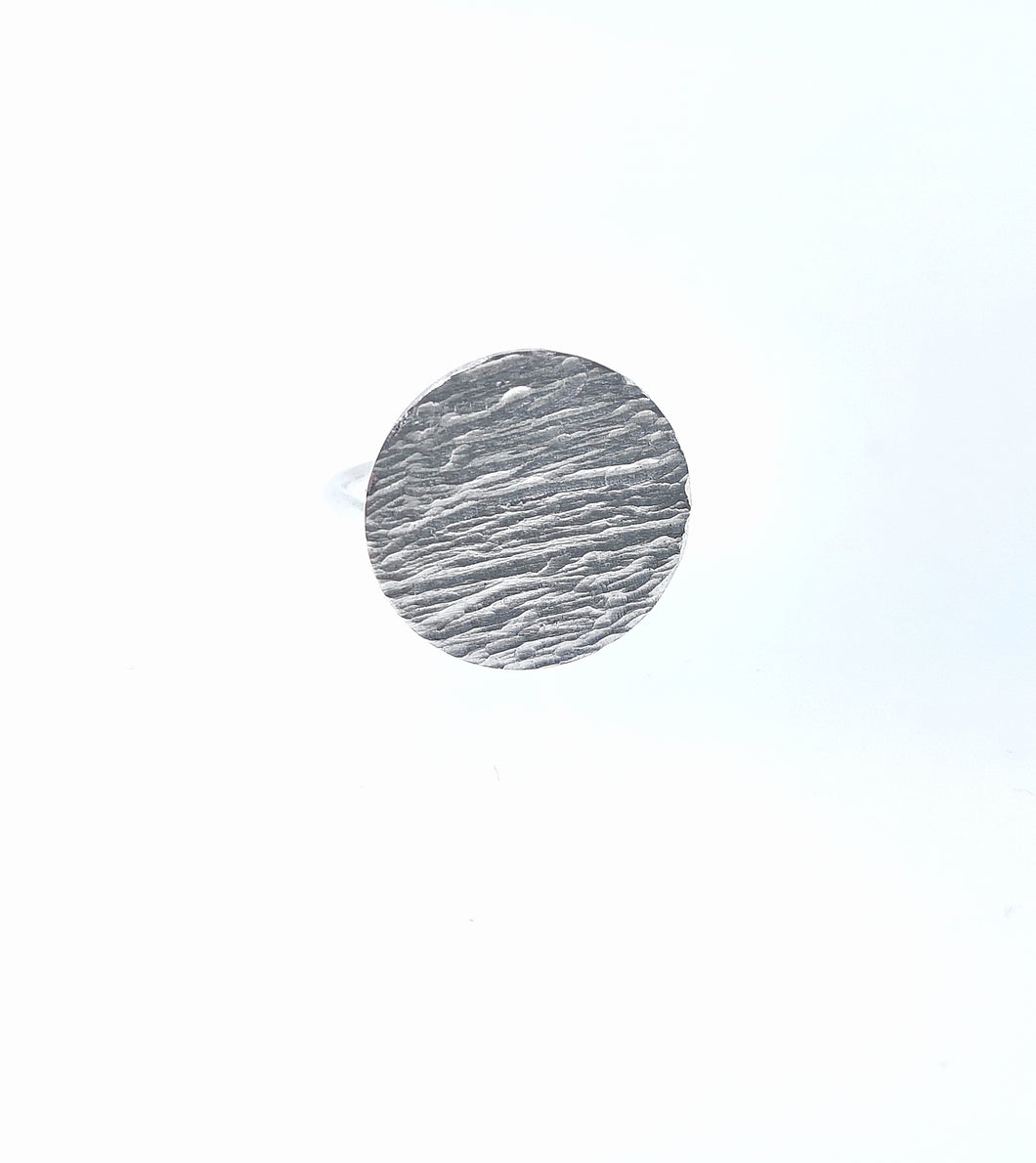 Ripple Disc Ring - sterling silver
