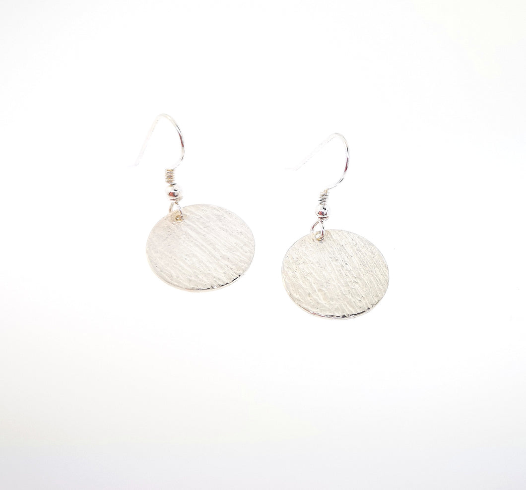Ripple Disc Earrings - 9 Karat White Gold