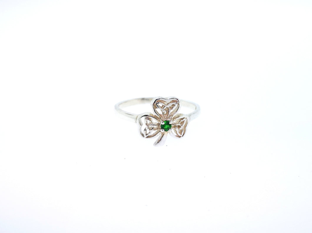 Shamrock Ring - With Emerald Green Crystal