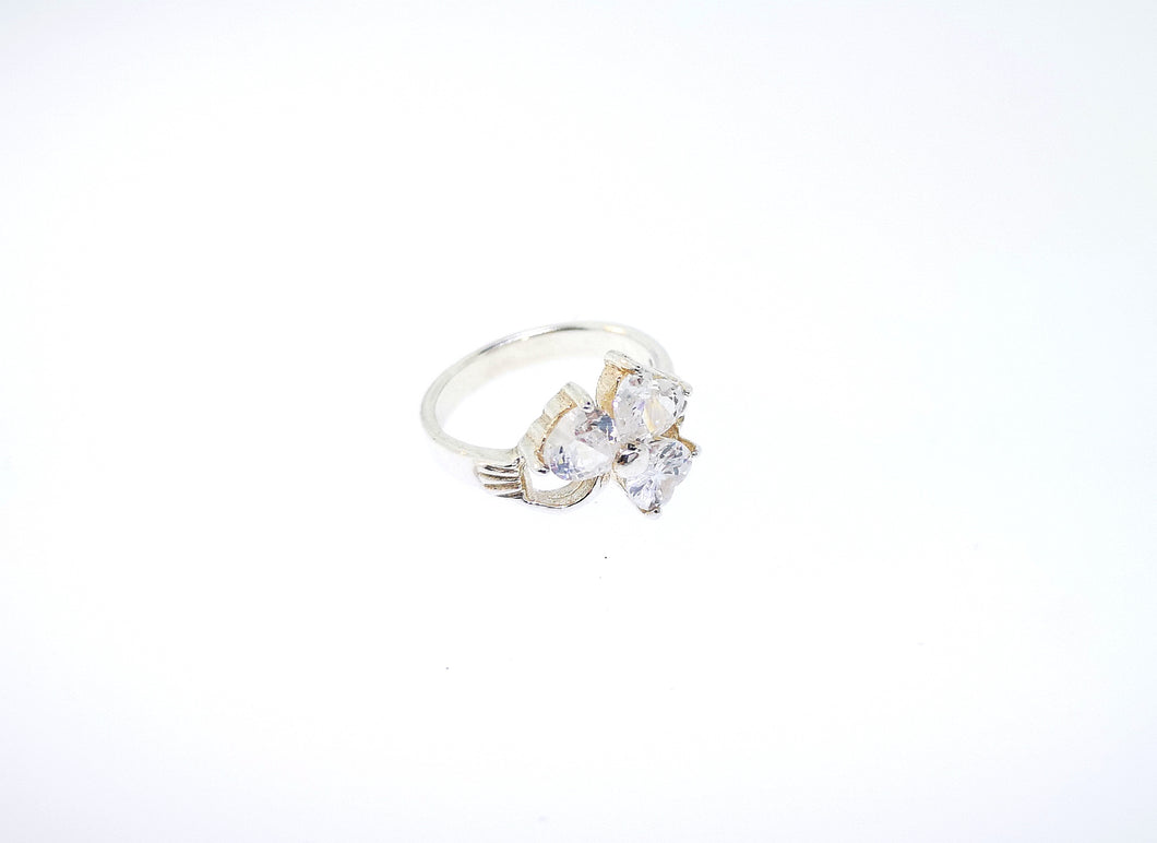 Shamrock Ring - With White Crystals