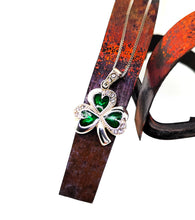 Load image into Gallery viewer, Shamrock Pendant - Sterling Silver White Crystals & Enamel