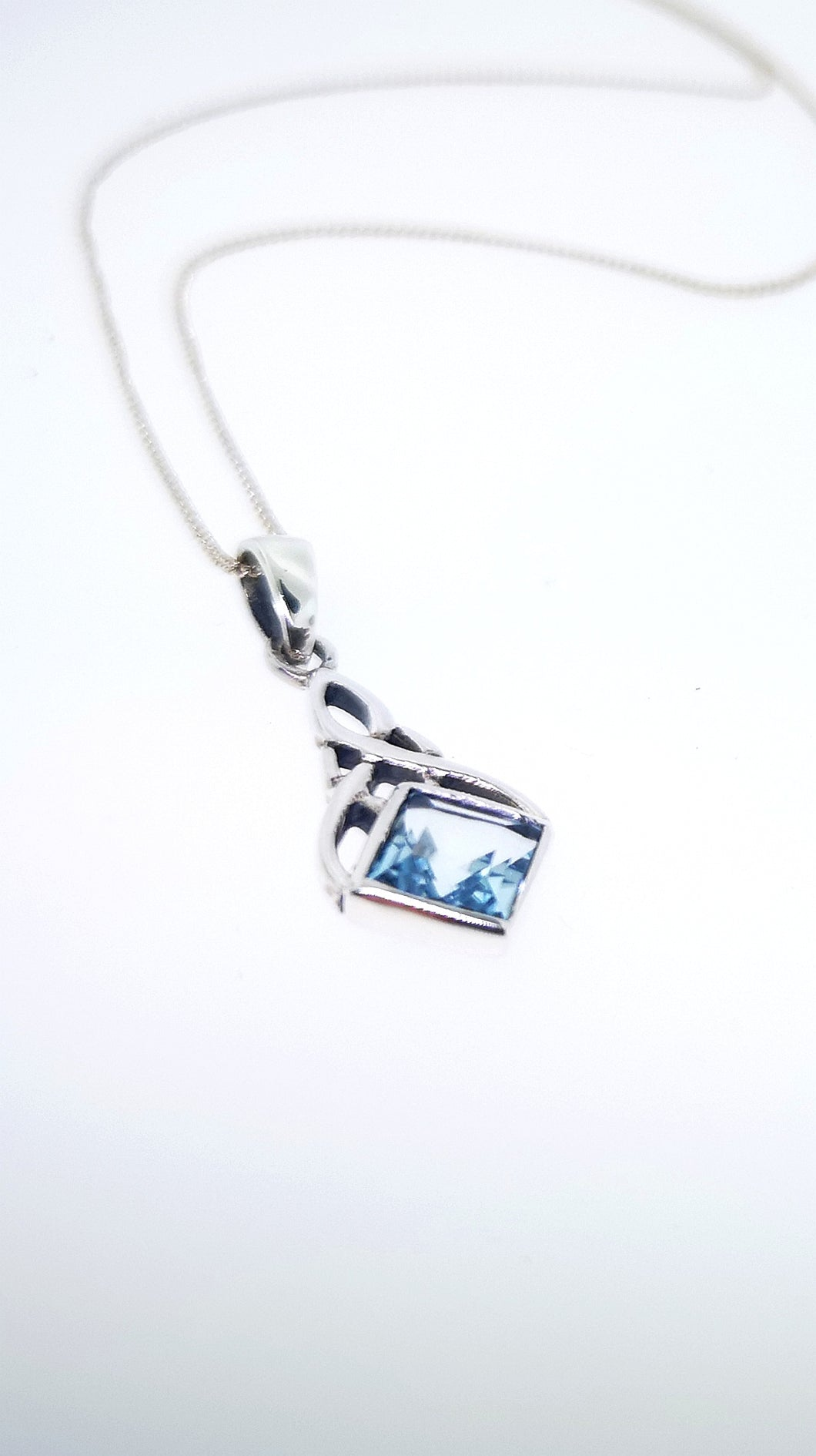 Celtic Weave Pendant - Sterling Silver With Aquamarine