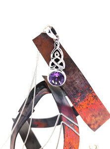 Celtic Weave Pendant -Sterling Silver With Amethyst