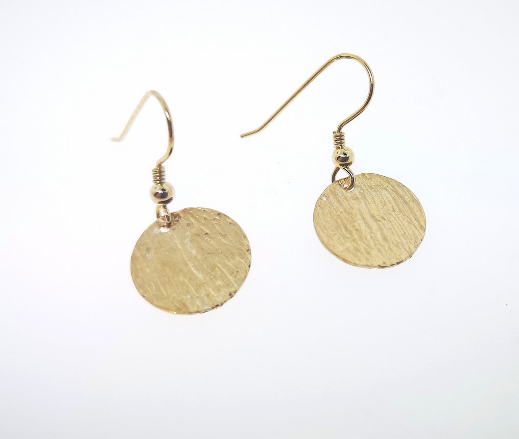 Ripple Disc Earrings - Yellow Gold Plated