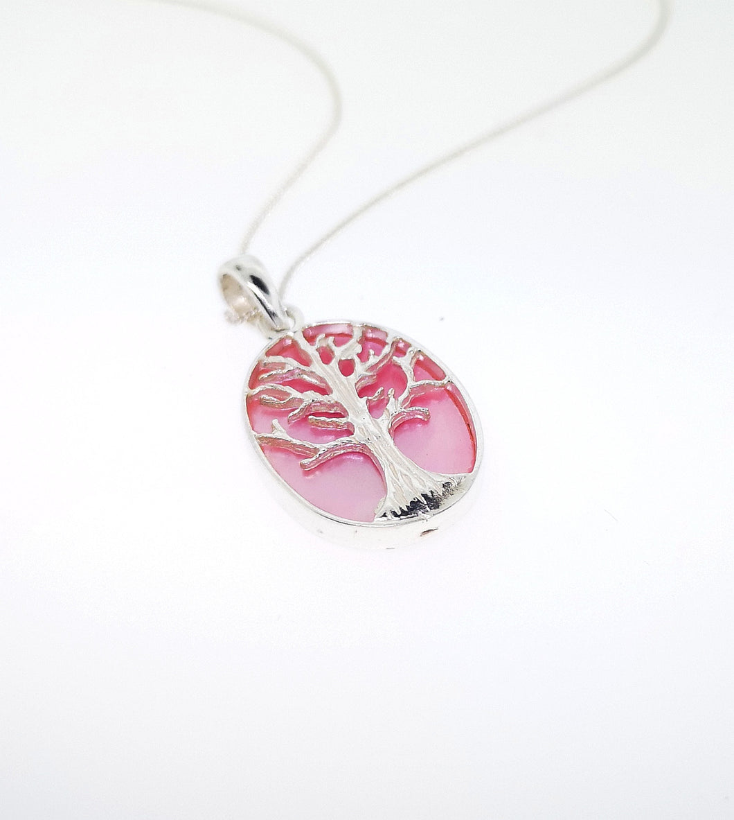 Tree Of Life Oval Pendant - Mother Of Pearl Pink - Small