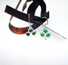 Load image into Gallery viewer, Shamrock Drop Earrings - Emerald Green Crystals