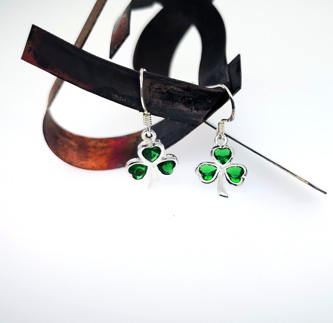 Shamrock Drop Earrings - Emerald Green Crystals