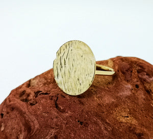 Ripple Disc Ring - Yellow Gold Plated