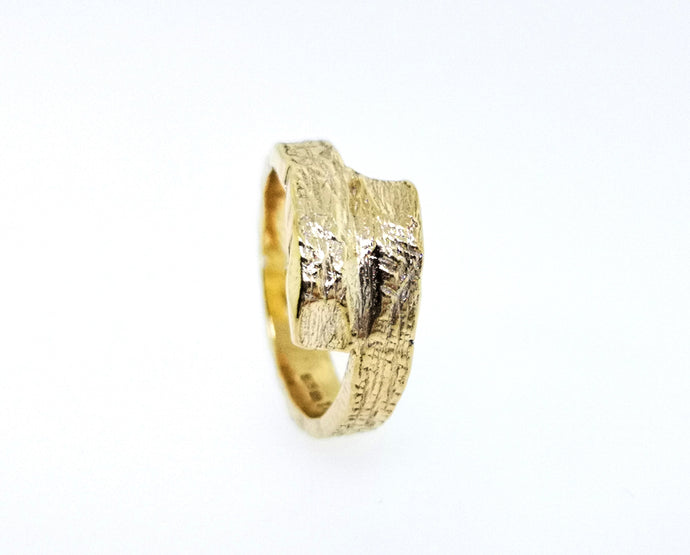 Driftwood Wrap Over Ring - Yellow Gold Plated