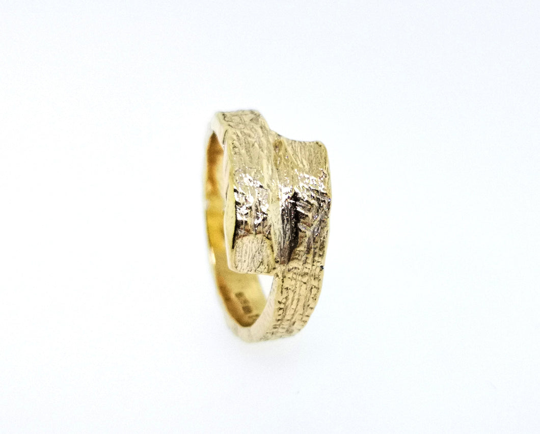 Driftwood Wrap Over Ring - 9 Karat Yellow Gold