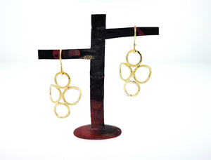 4 Circle Earrings - Yellow Gold Plated