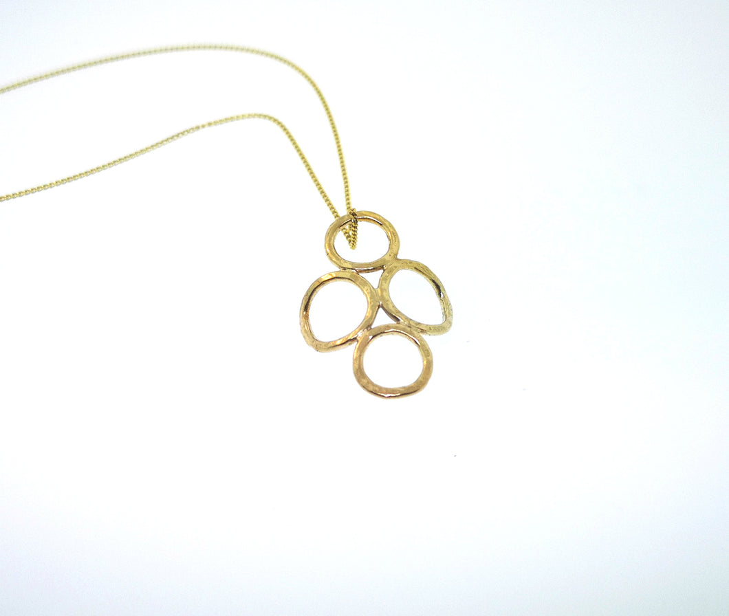 4 Circle Pendant - Yellow Gold Plated