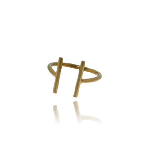 JewelArt T-Bar Ring - Yellow Gold Plated