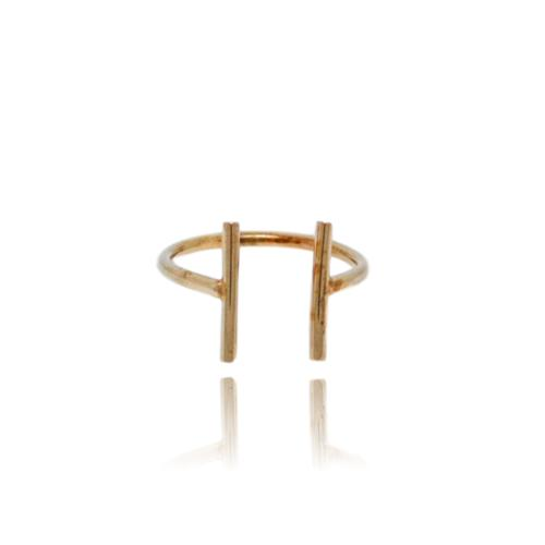 JewelArt T-Bar Ring - Rose Gold Plated