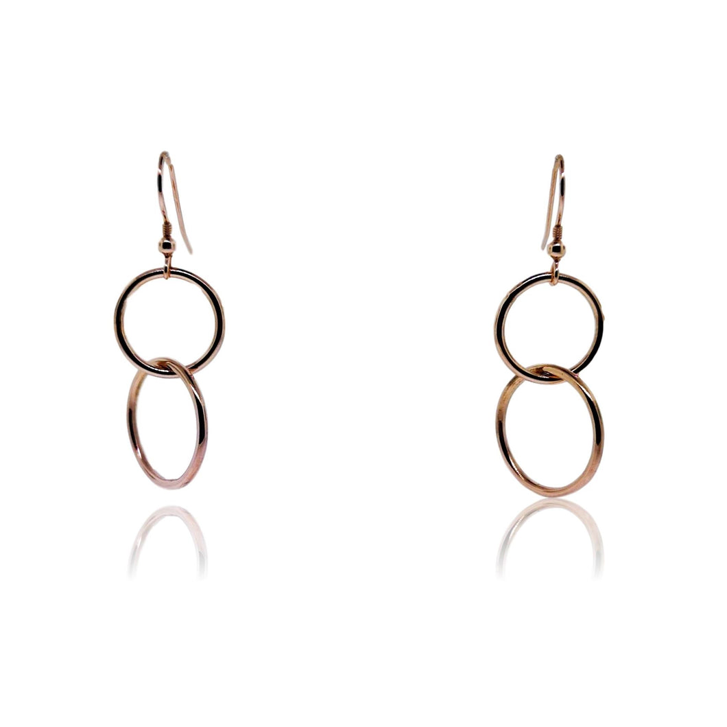 JewelArt Double loop Drop Earrings - Rose Gold Plated