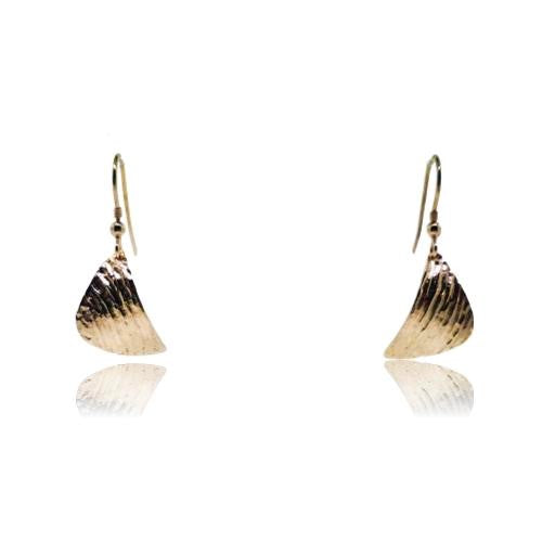 Ripple Curved Earrings - Yellow Gold Plated