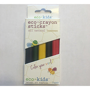 Eco-Crayon Sticks (5 pk, 5 colors made with beeswax)