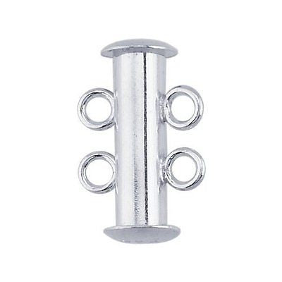 Sterling Silver Two-Strand Tube Slide Clasp
